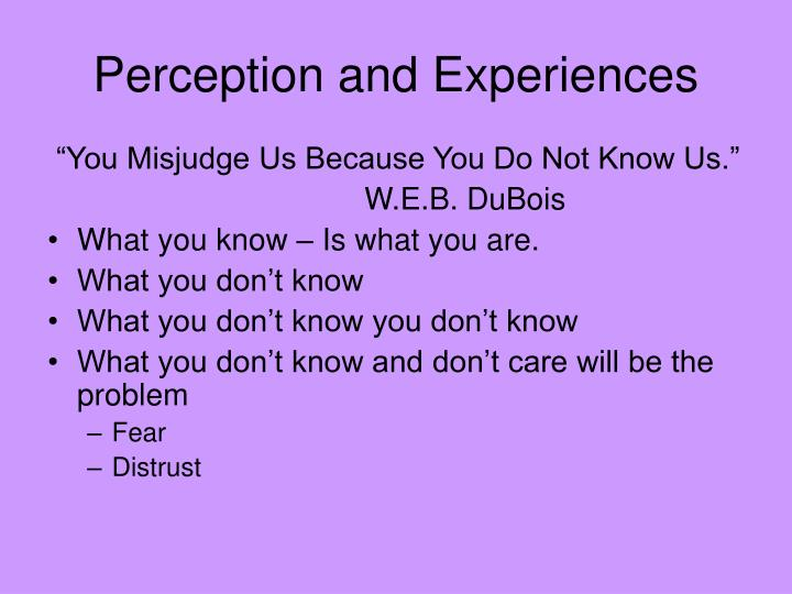 Perception and Experiences