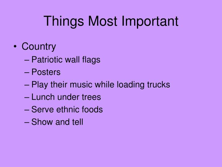 Things Most Important