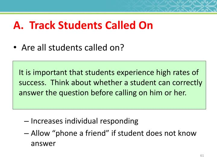 A.  Track Students Called On