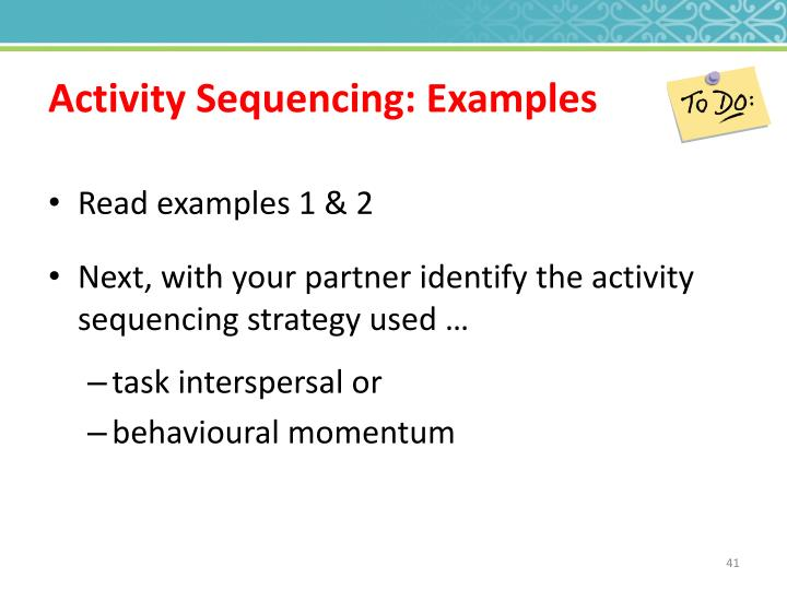 Activity Sequencing: Examples
