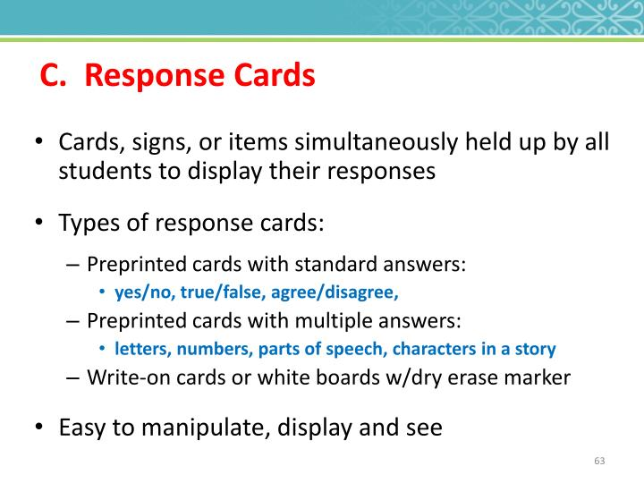 C.  Response Cards