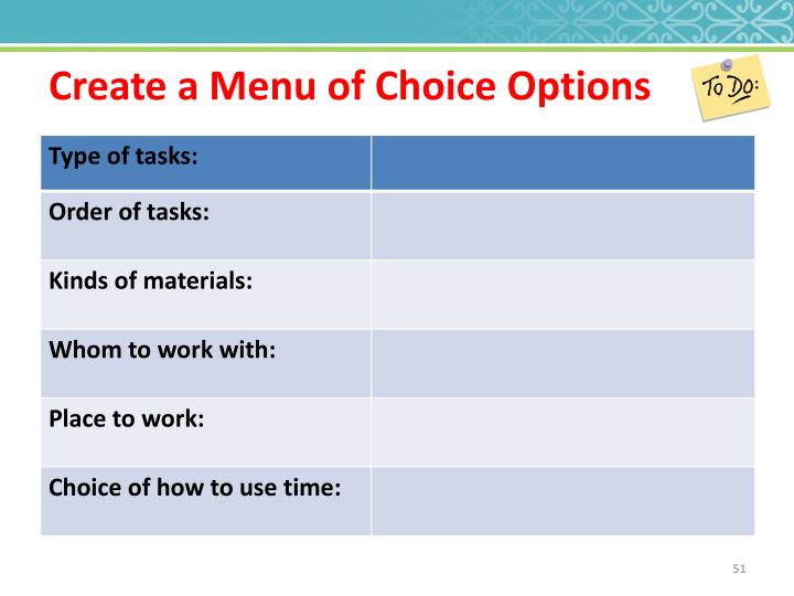 Create a Menu of Choice Options