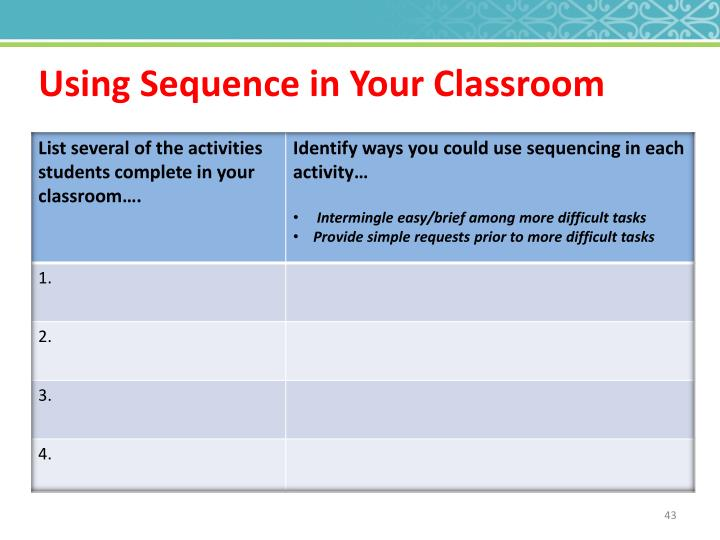 Using Sequence in Your Classroom