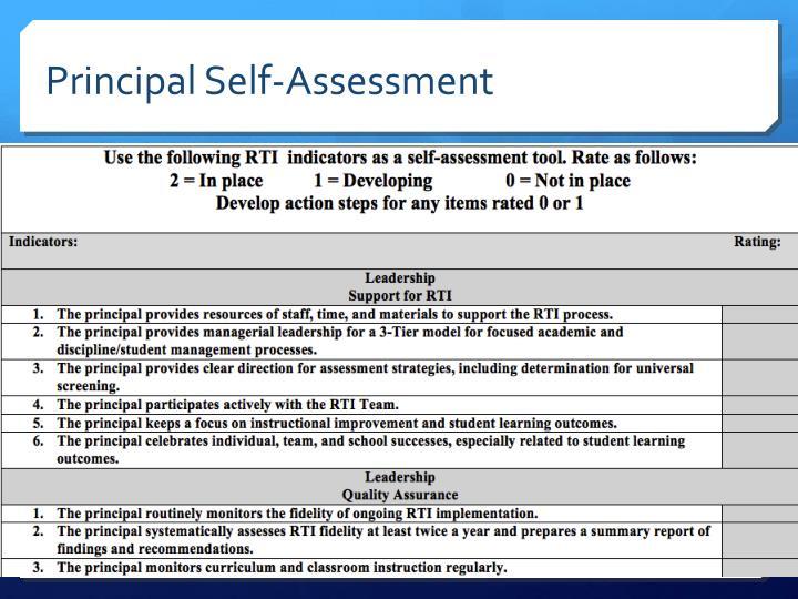 Principal Self-Assessment