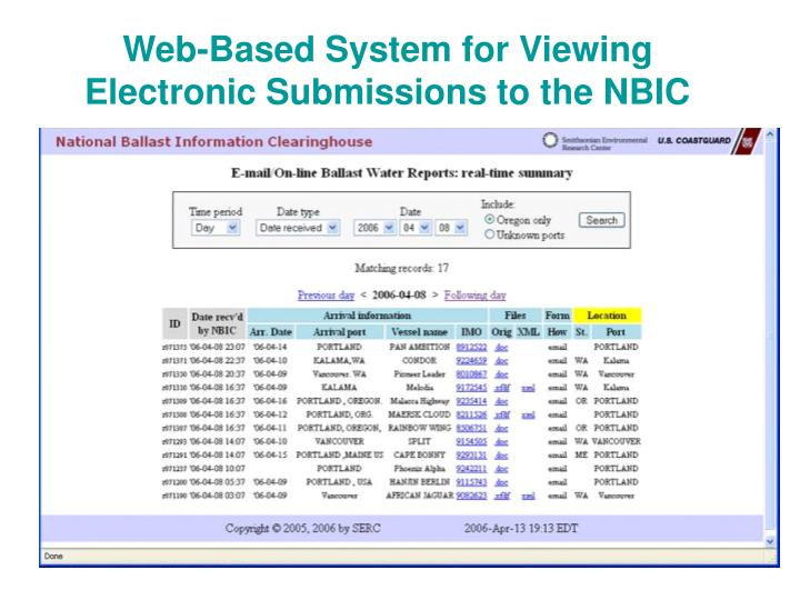 Web-Based System for Viewing Electronic Submissions to the NBIC