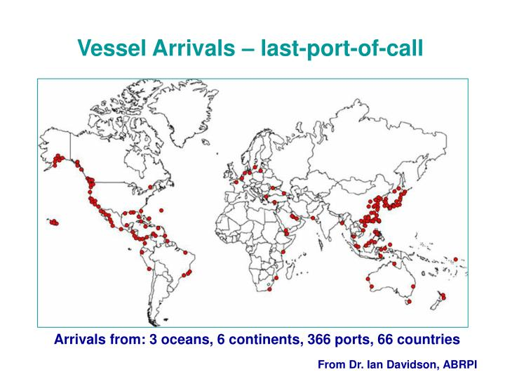 Vessel Arrivals – last-port-of-call