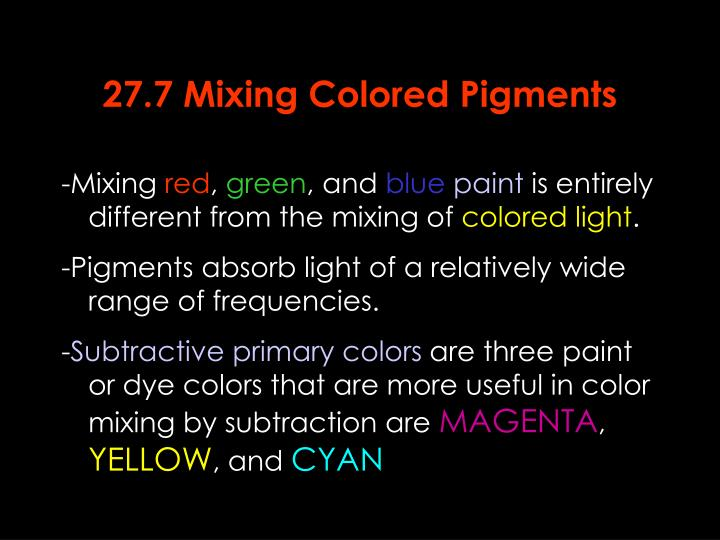 27.7 Mixing Colored Pigments