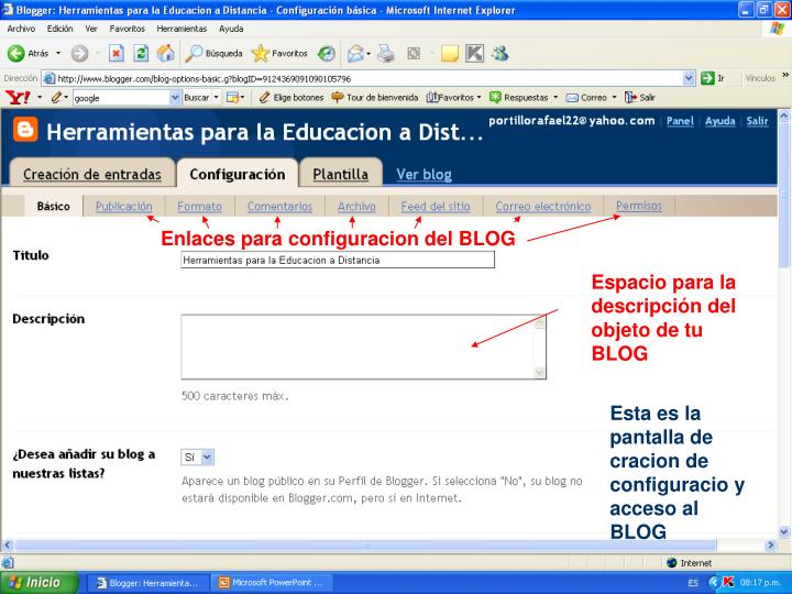Enlaces para configuracion del BLOG