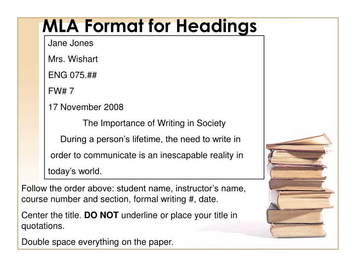 MLA Format for Headings