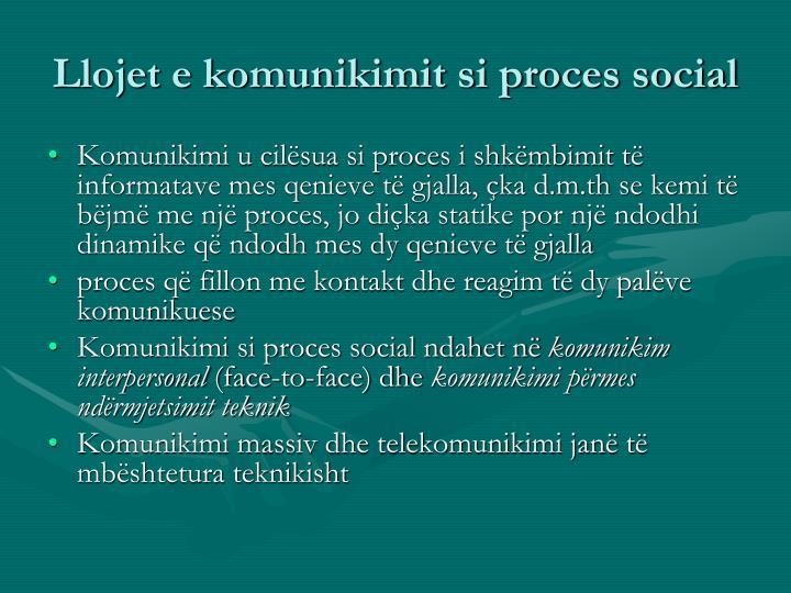 Llojet e komunikimit si proces social