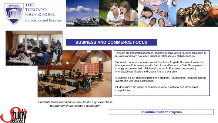 BUSINESS AND COMMERCE FOCUS