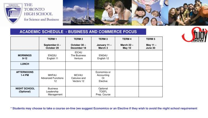 ACADEMIC SCHEDULE  - BUSINESS AND COMMERCE FOCUS