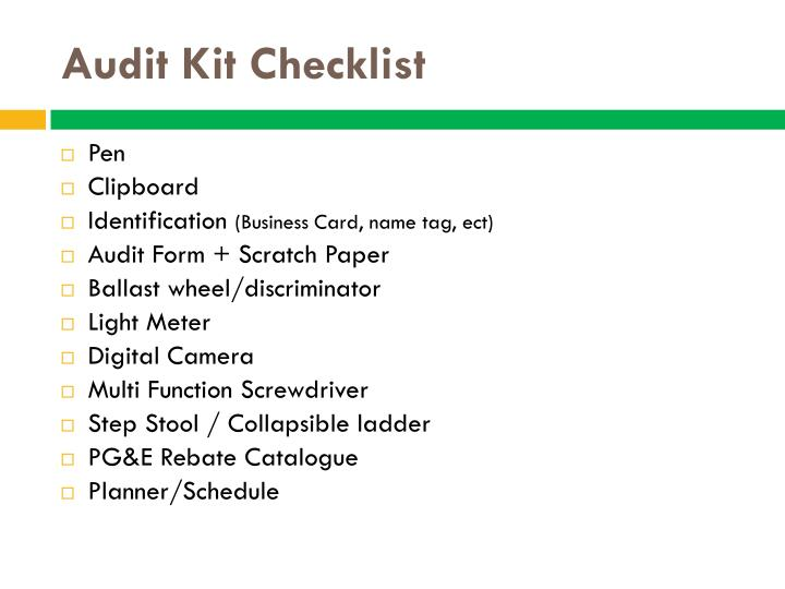 Audit kit checklist