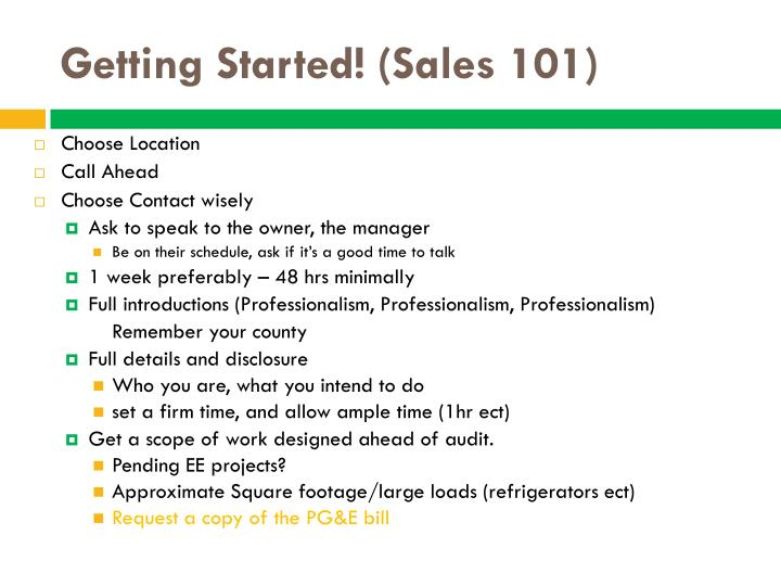 Getting started sales 101