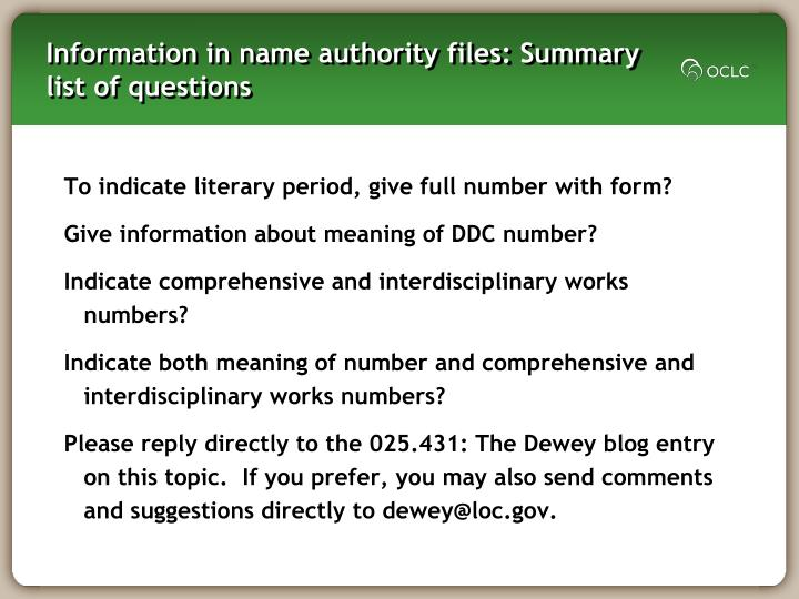 Information in name authority files: Summary list of questions
