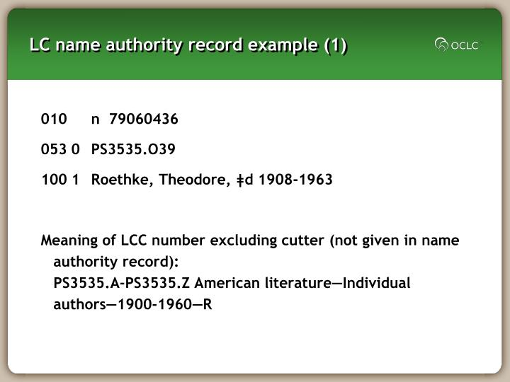 LC name authority record example (1)