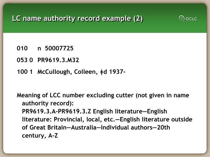 LC name authority record example (2)