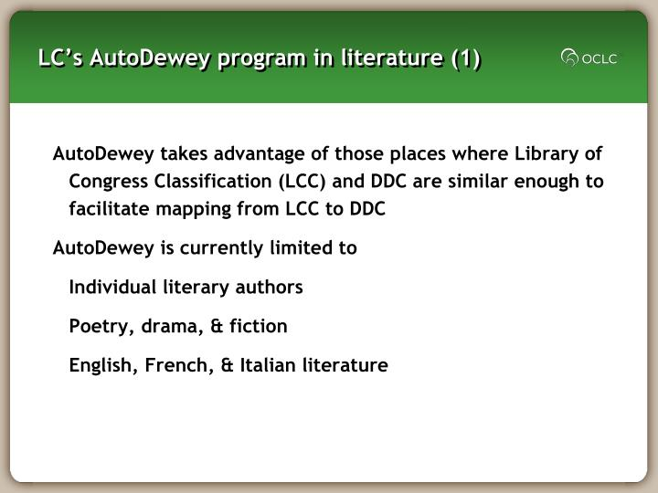 Lc s autodewey program in literature 1