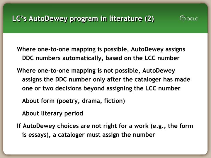 LC's AutoDewey program in literature (2)