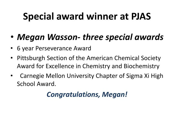 Special award winner at PJAS