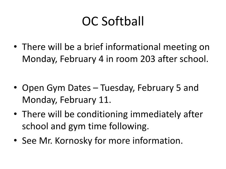 OC Softball