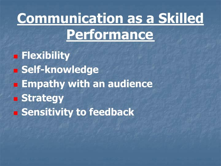 Communication as a Skilled Performance