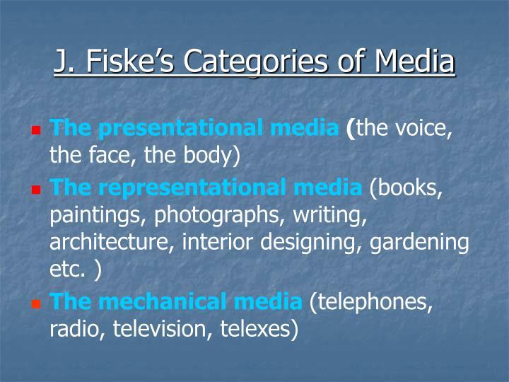 J. Fiske's Categories of Media