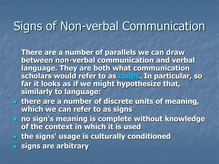 Signs of Non-verbal Communication