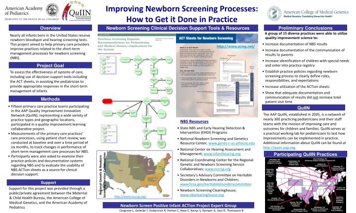 Improving newborn screening processes how to get it done in practice
