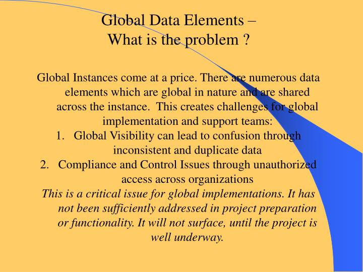 Global Data Elements –