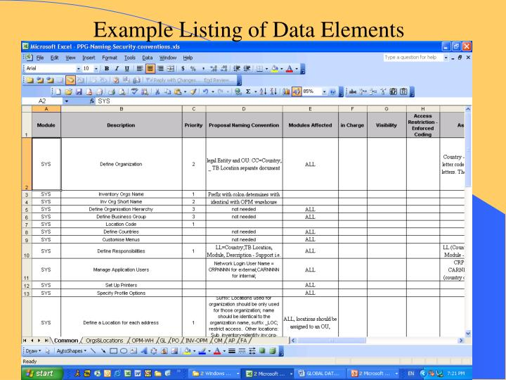 Example Listing of Data Elements