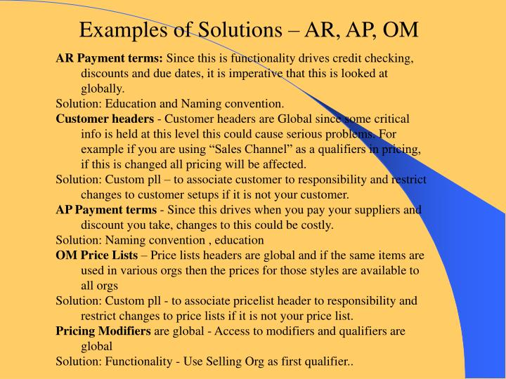 Examples of Solutions – AR, AP, OM