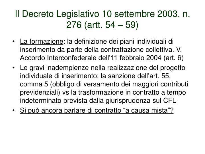 Il Decreto Legislativo 10 settembre 2003, n. 276 (artt. 54 – 59)
