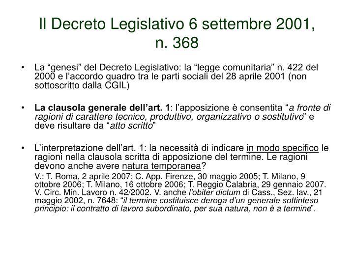 Il Decreto Legislativo 6 settembre 2001,