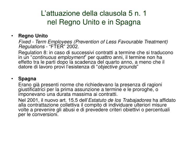 L'attuazione della clausola 5 n. 1