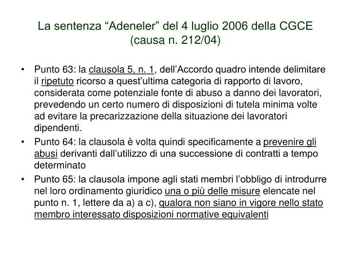 """La sentenza """"Adeneler"""" del 4 luglio 2006 della CGCE"""