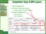 adaptation type mw layers