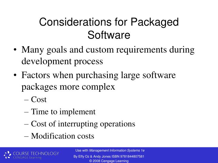Considerations for Packaged Software