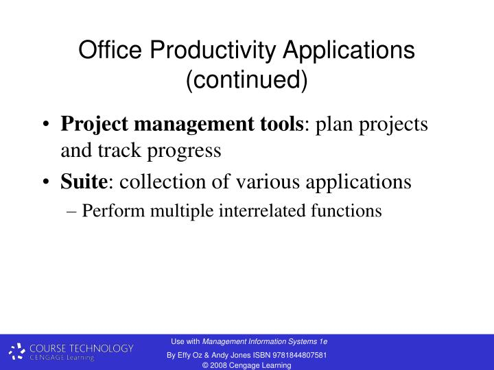 Office Productivity Applications (continued)