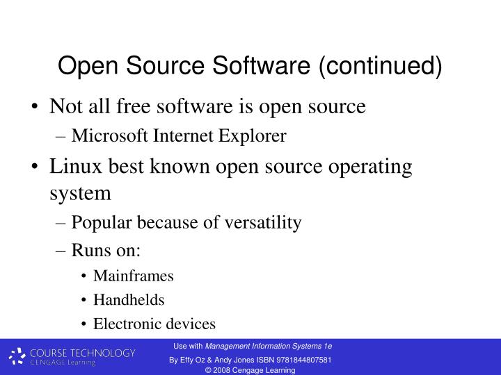 Open Source Software (continued)