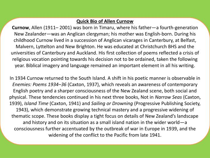 Quick Bio of Allen Curnow