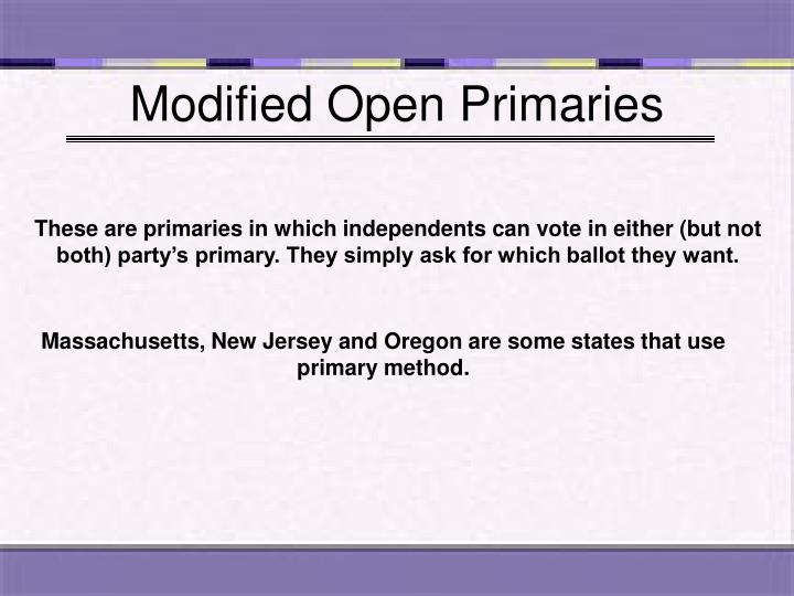 Modified Open Primaries