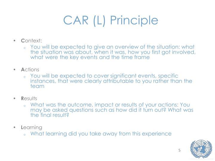 CAR (L) Principle