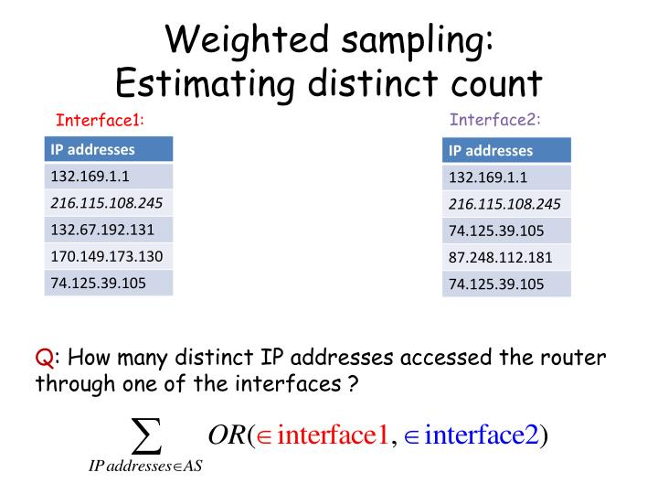Weighted sampling: