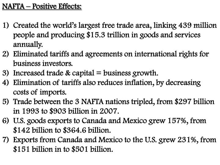 NAFTA – Positive Effects: