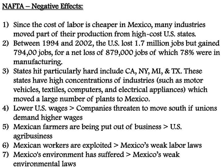 NAFTA – Negative Effects: