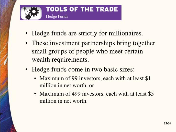 Hedge funds are strictly for millionaires.