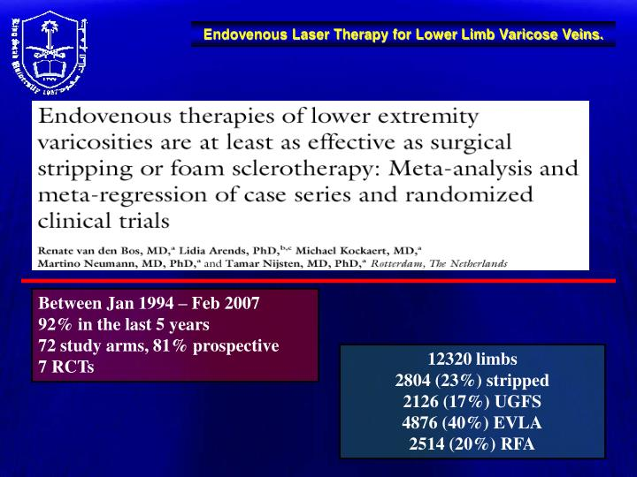 Endovenous Laser Therapy for Lower Limb Varicose Veins.