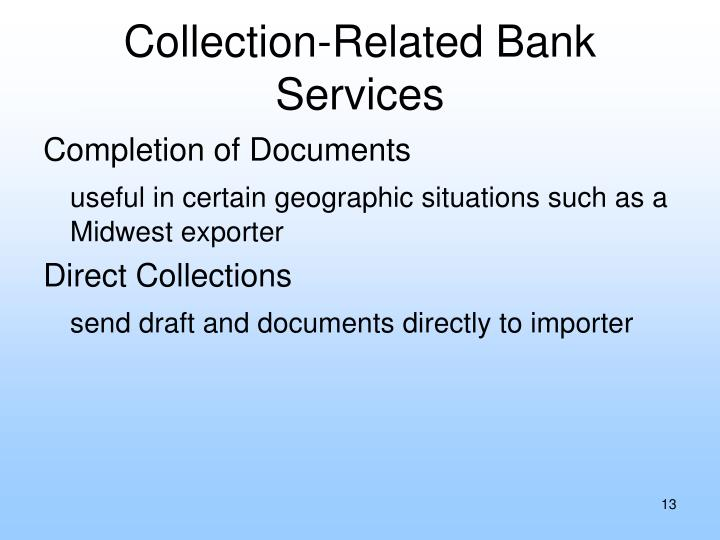 Collection-Related Bank Services
