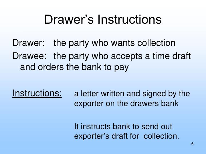 Drawer's Instructions